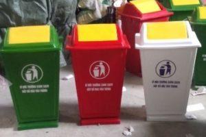 thùng rác 60 lít composite đỏ